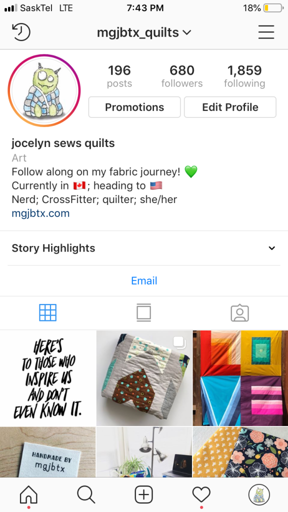 Screen shot of my early Instagram feed.